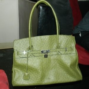 Handbags - green satchel handbag purse